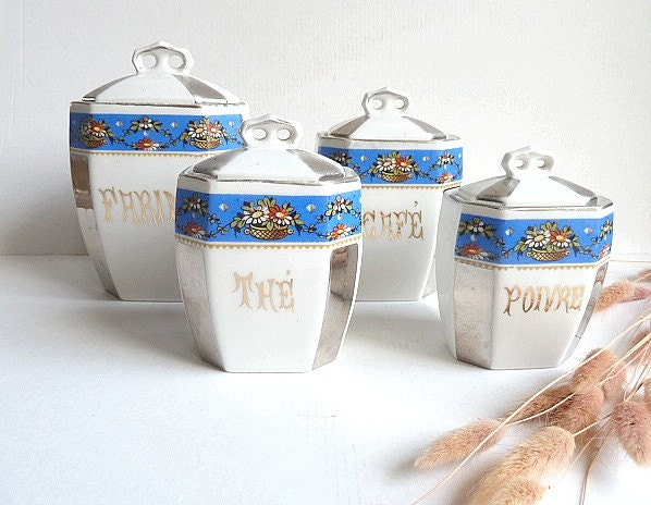 French antique set of 4 kitchen canisters.1920s.Kitchen containers.Blue. Box .Kitchen storage.French canisters.Cottage.Eveteam - CabArtVintage