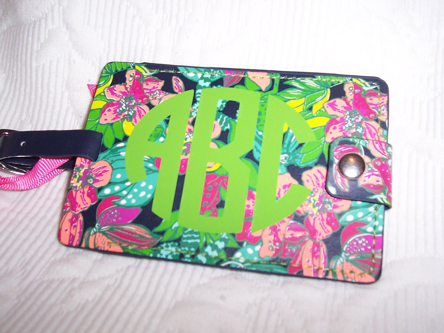 Personalized Lilly Pulitzer Luggage Tag in Skip On It by HomeLush
