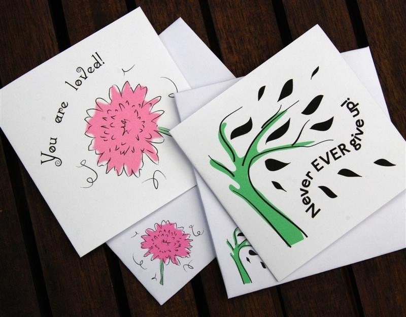 Encouragement cards set of six - flower and tree design - matching envelopes