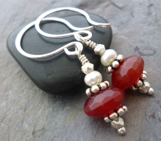 Simply Red - Faceted Quartz and Freshwater Pearl Earrings