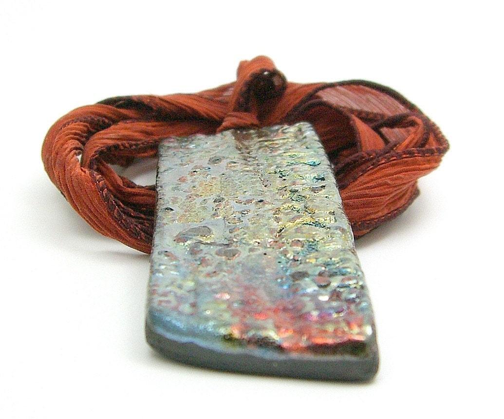 Shimmery Trapezoid Raku Pendant Raku Ceramic Jewelry by MAKUstudio