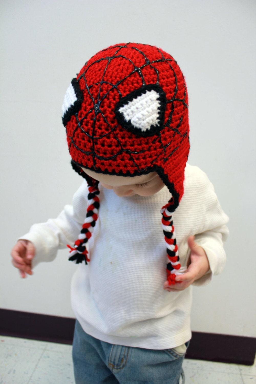 Spiderman Crochet Hat Earflap Beanie by sisterscraftcorner