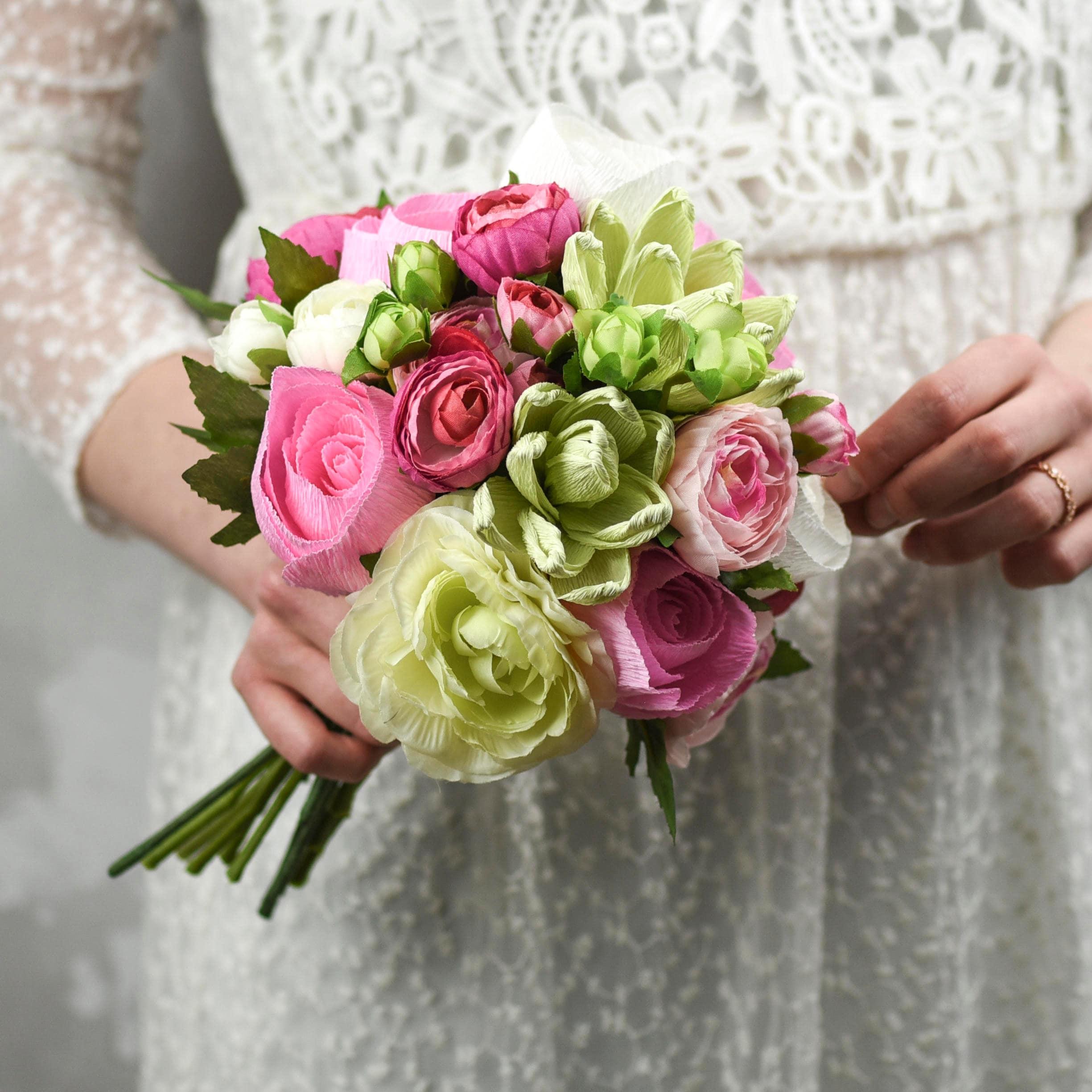 paper succulent bouquet  pink roses  paper succulents  silk ranunculus  silk greenery  paper bouquet  succulent wedding  cacti
