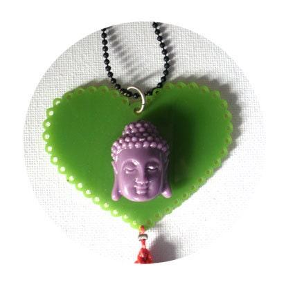 Buddha Long necklace - Plexi glass heart, buddha and tassel - Women necklace - elsahats