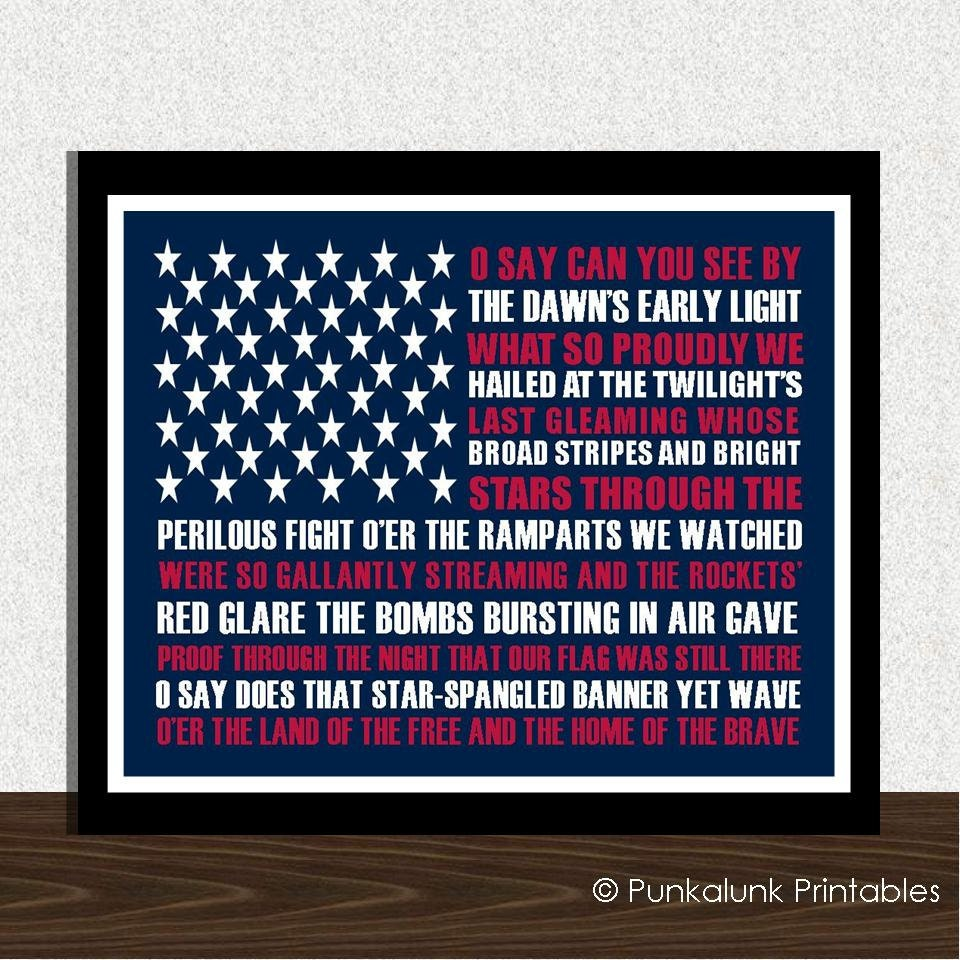 MEMORIAL DAY Star Spangled Banner American national anthem typography art print - 8x10 patriotic print - PunkalunkPrintables