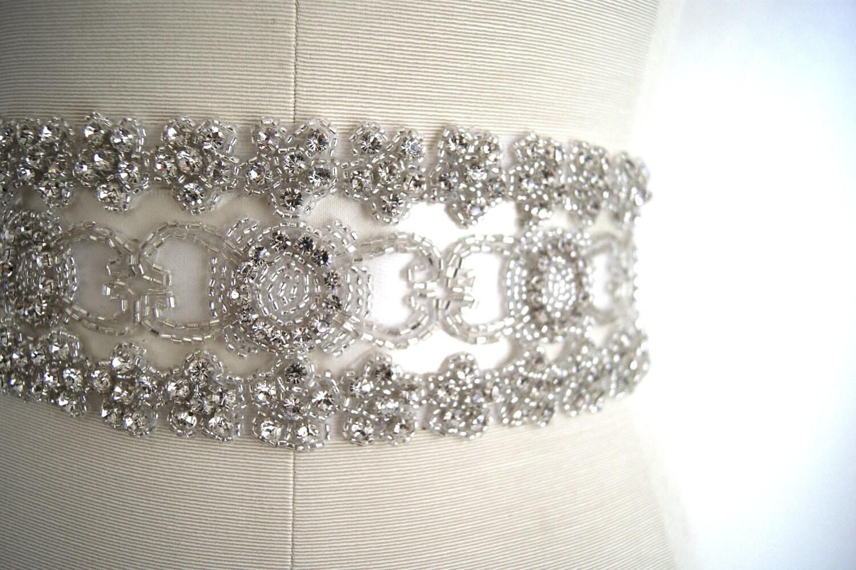 Couture Bridal Sash THE MAJESTIC Rhinestone Wedding belt Crystal and Satin