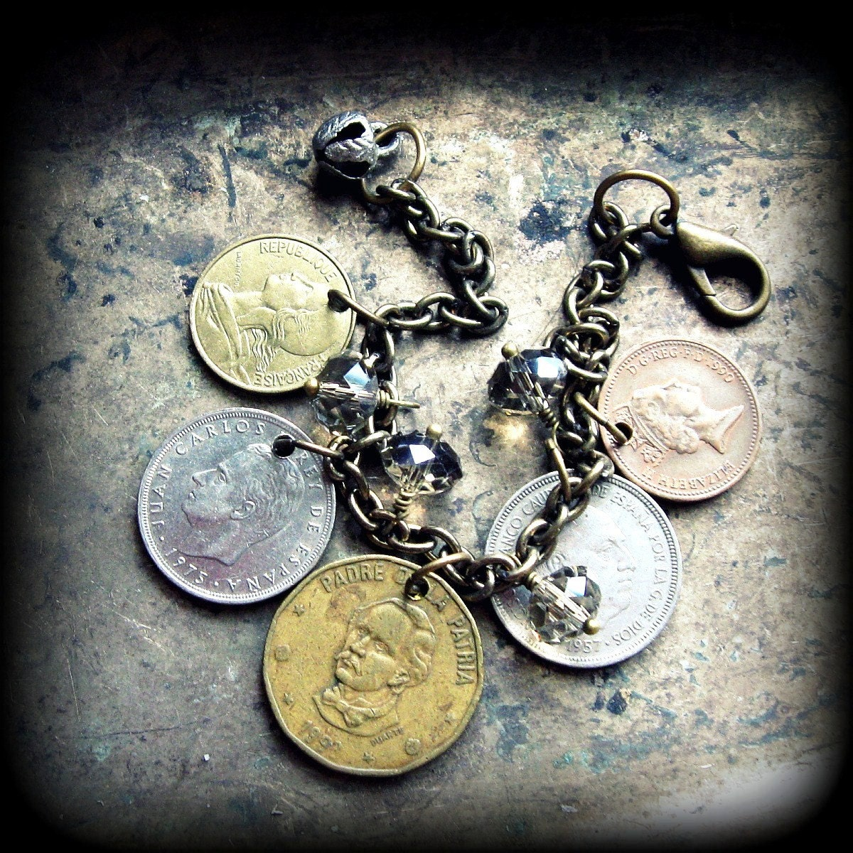 FORTUNES TOLD  ...  Gypsy Boho Chic World Coin Bracelet