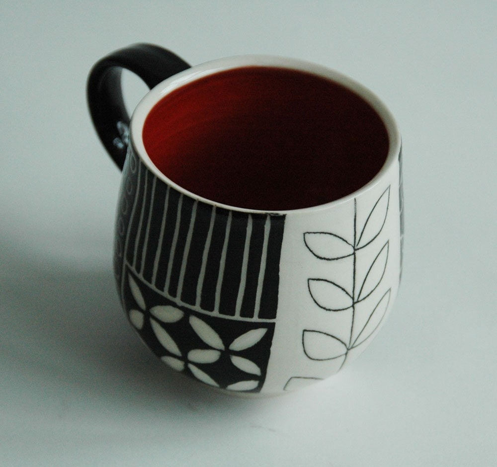 Red Mug in Moxy Pattern