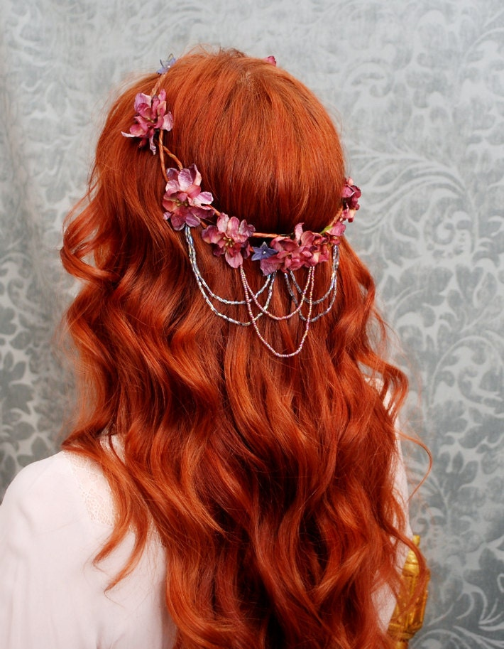 Bohemian head wreath mauve flower crown medieval circlet hair accessories - Vanlanthiriel