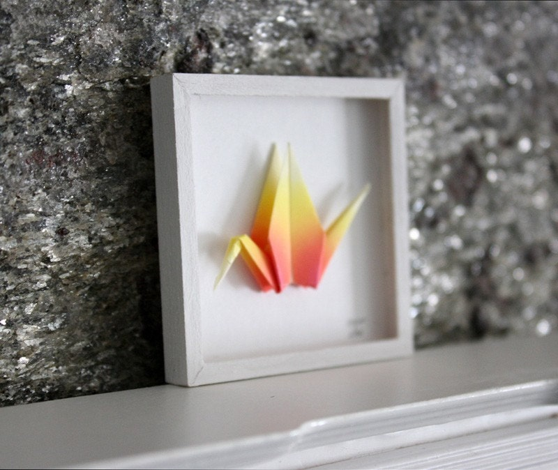 "Miniature Origami Paper Wall Art, ""Phoenix"" Shadowbox Framed in White 1:12 Scale Dollhouses"