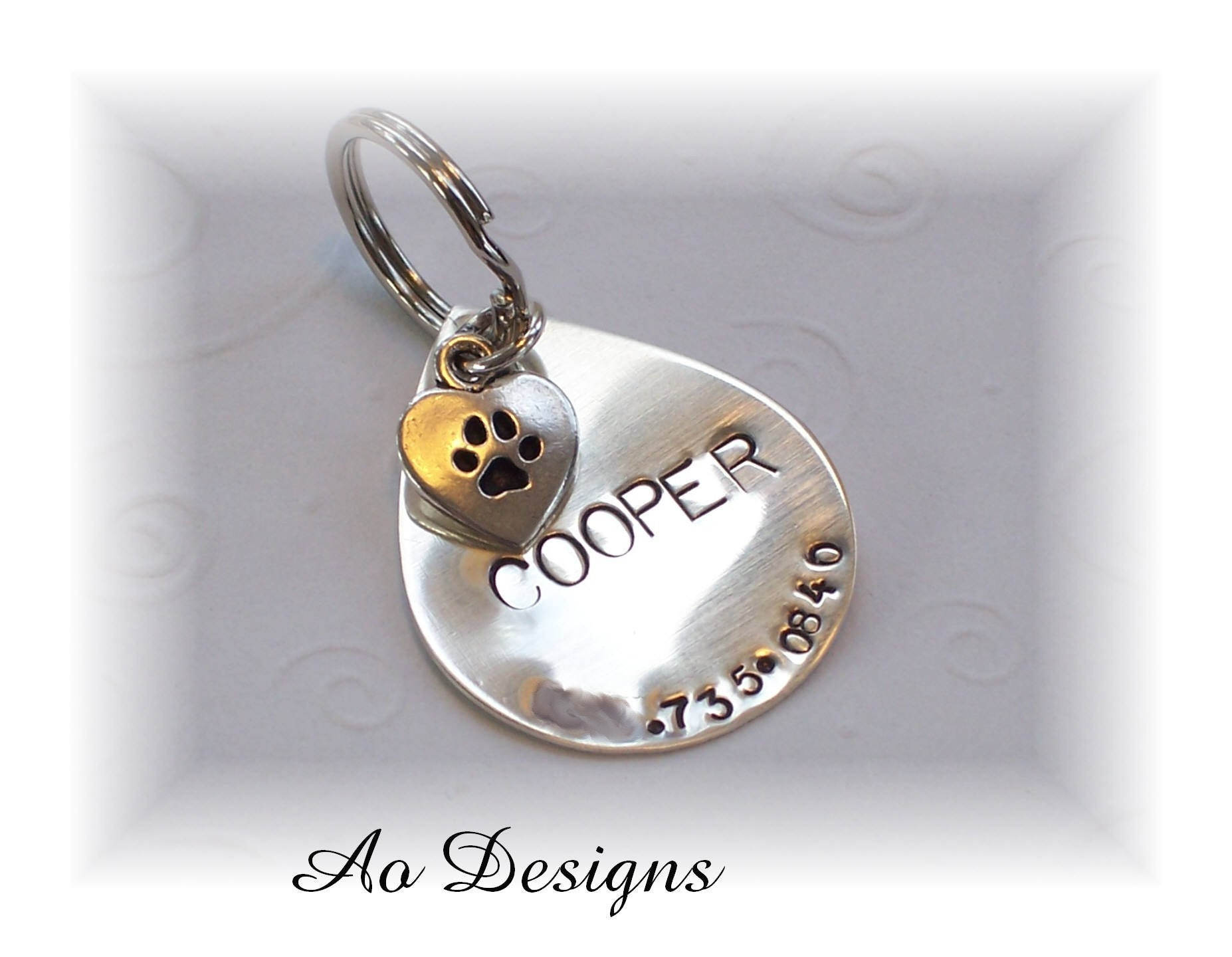Large Teardrop Pet ID Tag with Heart Charm