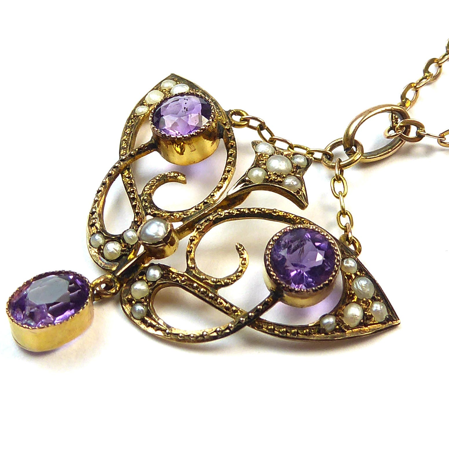 Antique Art Nouveau Amethyst and Pearl Pendant nj1036