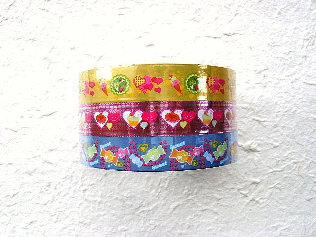 Kawaii Cute  Glittery Sticker Deco Tapes Sweets 3 TAPES YELLOW PINK BLUE