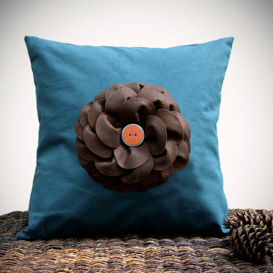 "16"" DESIGNER PILLOW COVER - Teal Linen Brown Felt Flower with Turquoise and Rust Buttons Gift for Her Under 55 by JillianReneDecor - JillianReneDecor"