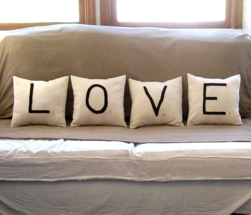 LOVE scrabble tile pillows