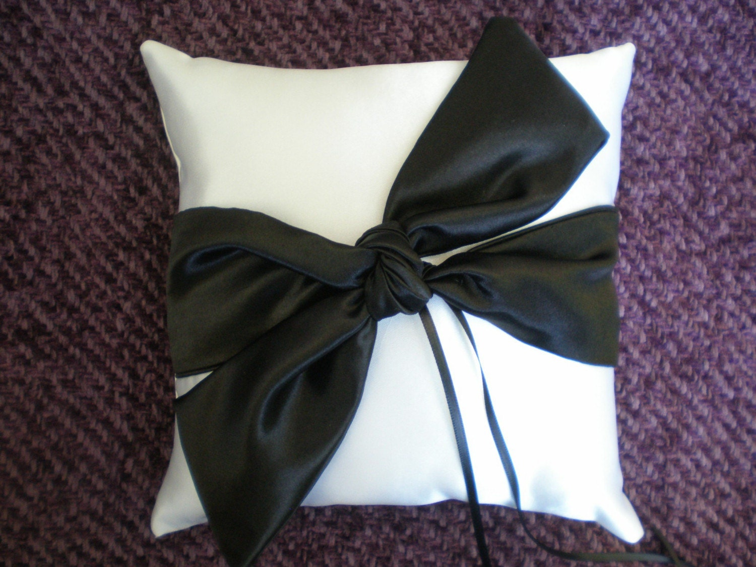 White Satin Wedding Ring Bearer Pillow w/ Black Knot