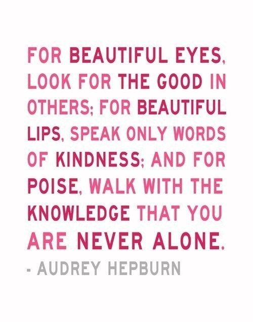 Audrey Hepburn Quote You Are Never Alone Pink 5 x 7 Print Inspirational Art