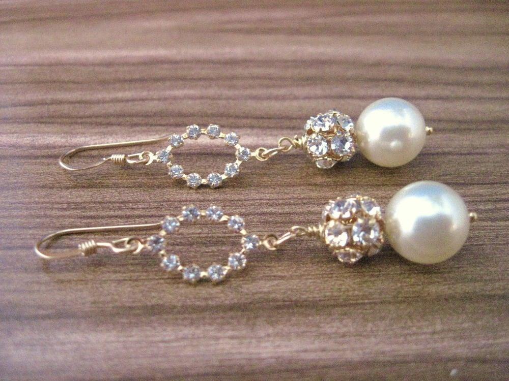 Mackenzie Bridal Pearl and Gold Wedding Earrings