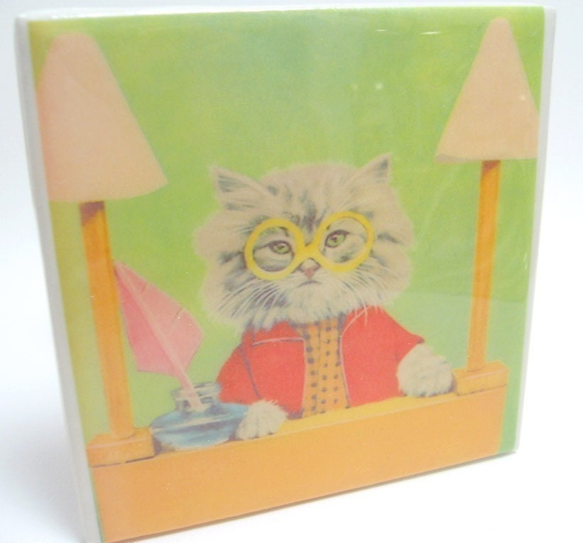 Cats Who Wear Glasses Tile Coaster