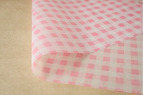 Beautiful Printed Wax Paper - check pink, 25x35cm (Set of 20)