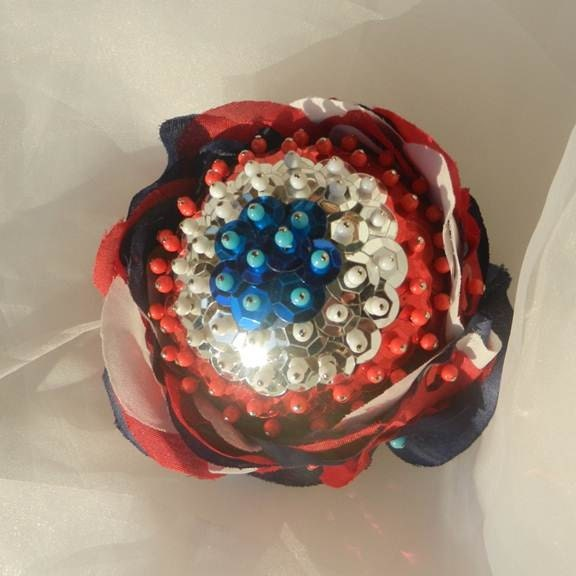 Red White Blue Rose Decorative Ball