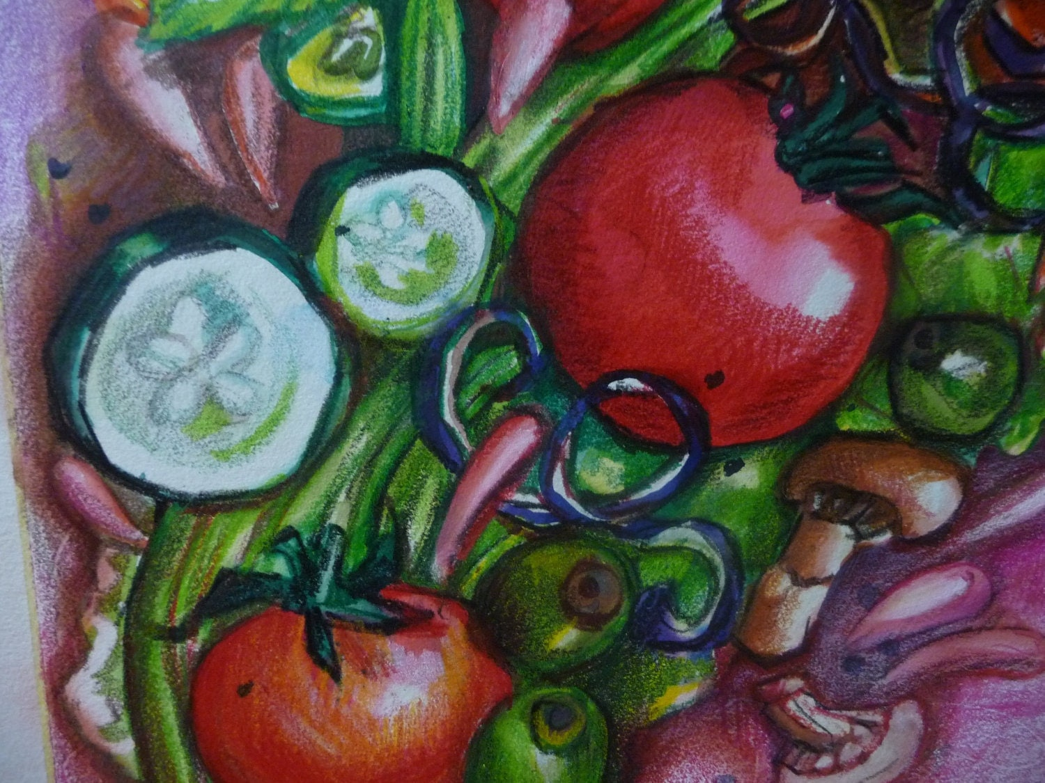 Crazy Salad Giclee Print of Original Watercolor Painting, Kitchen Art, Kitchen Decor, Vegetable Art