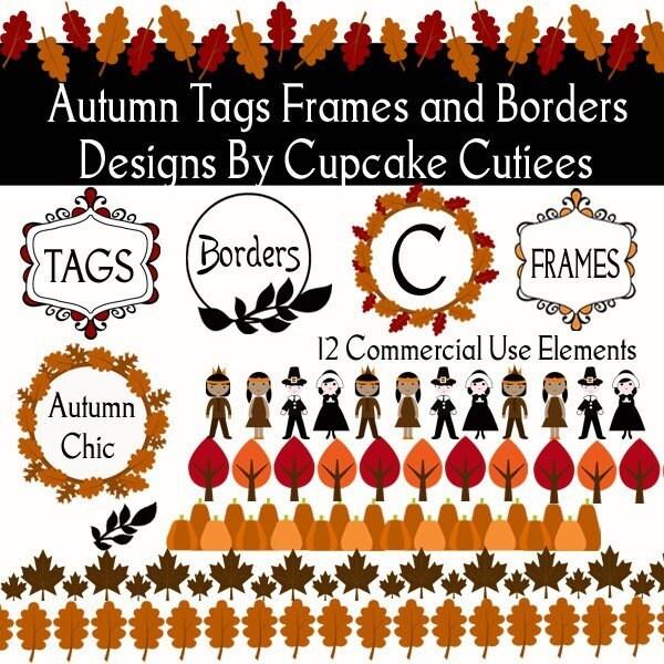 Clip Art Frames Borders. Autumn Frames Borders Clipart Digital Clip art for Cards, Paper, Invites,