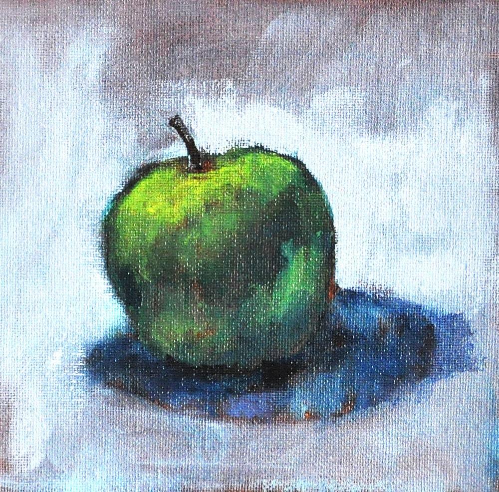 Granny Smith Green Apple Painting Original Fruit Kitchen Still Life