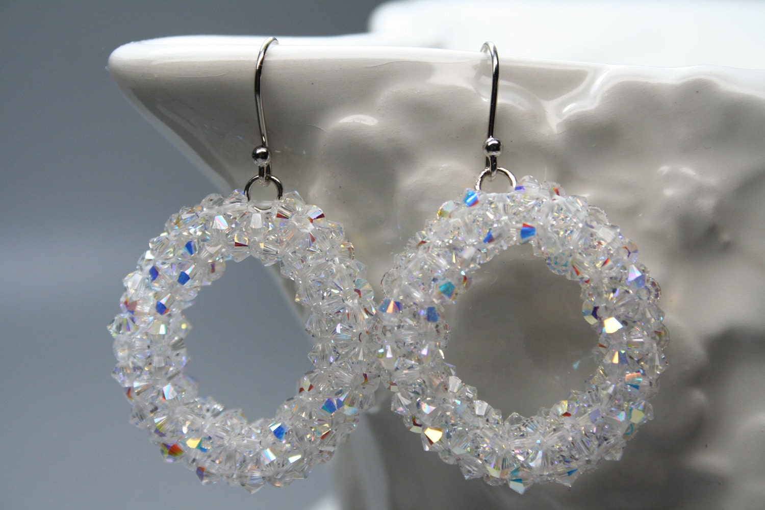 Summer Crystal Sparkling Beaded Hoop Earrings