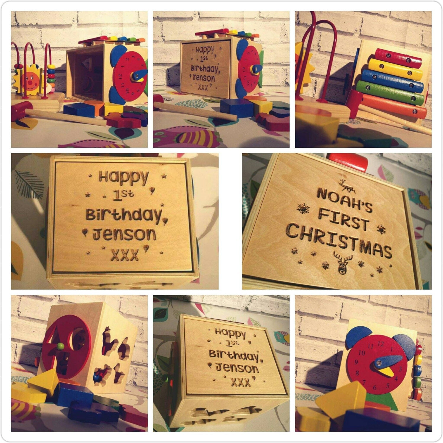 Personalised Engraved Wooden Activity Cube Gifts For Children Nursery Wooden Toy Birthday Christening   00001