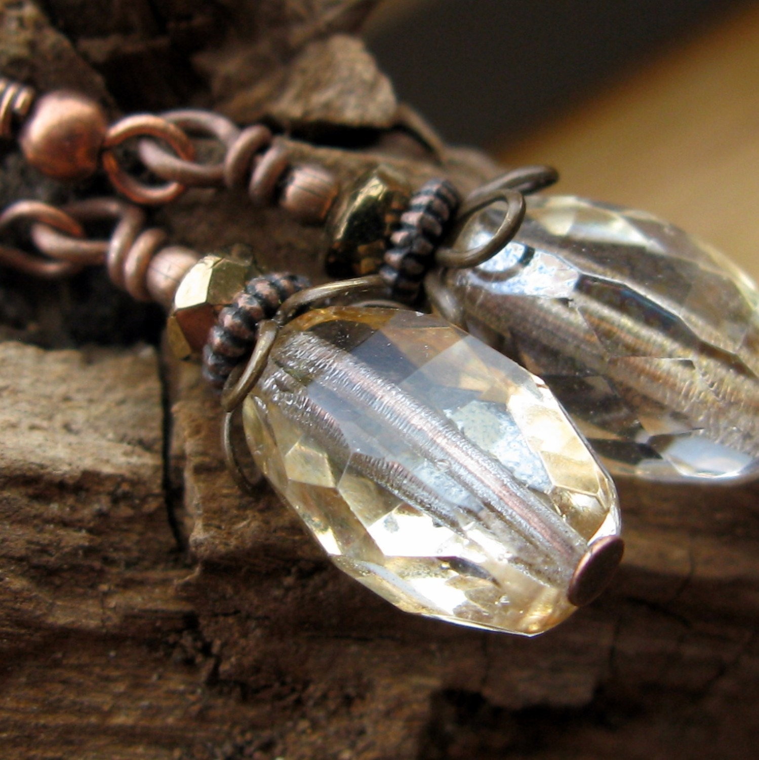 Honey - sparkling antiqued copper and brass earrings by South Wind Design
