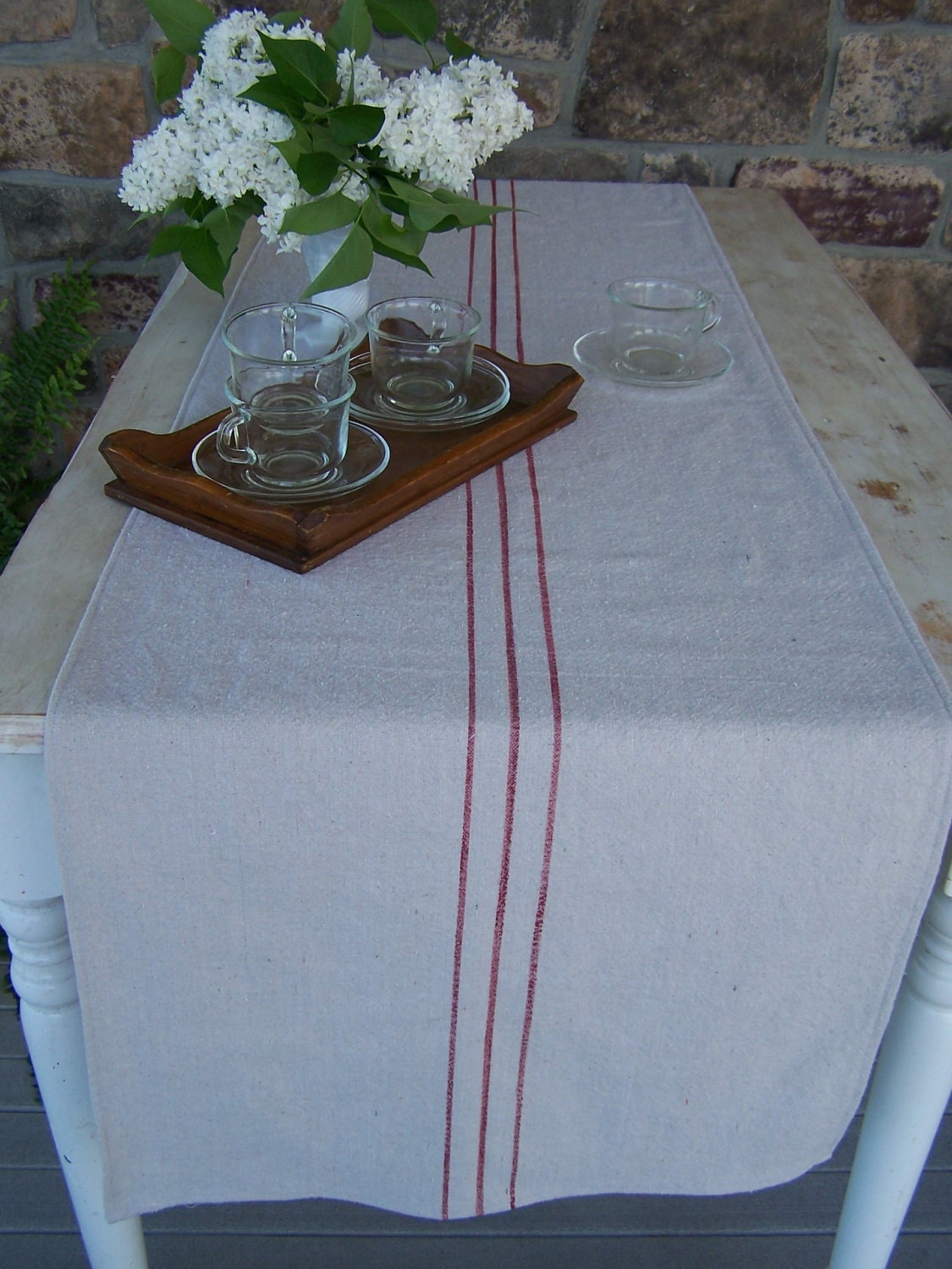 French grain sack style table runner red 90 inch by for Table runners 52 inches