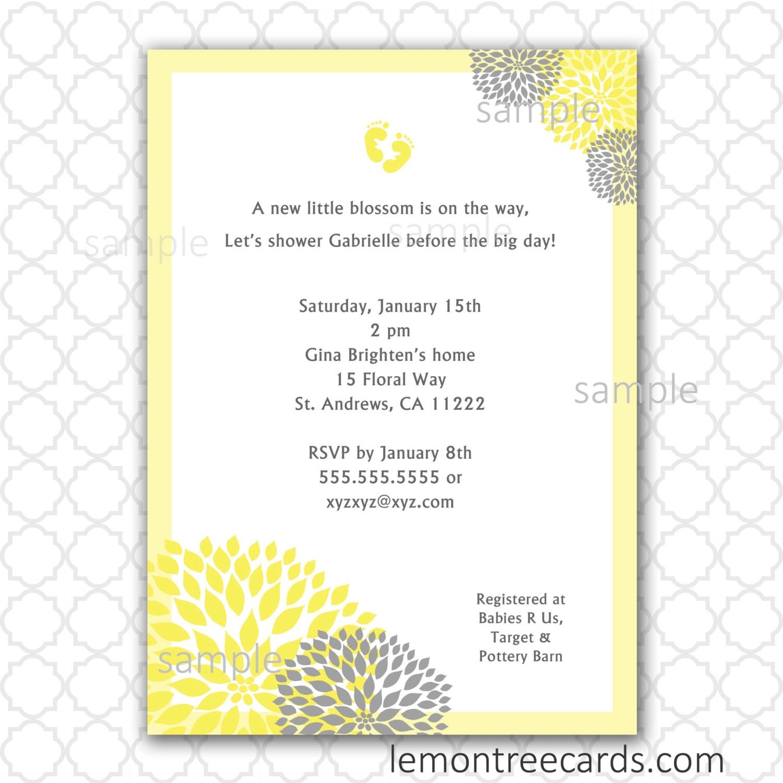 items similar to yellow and gray dahlia baby shower invitation print