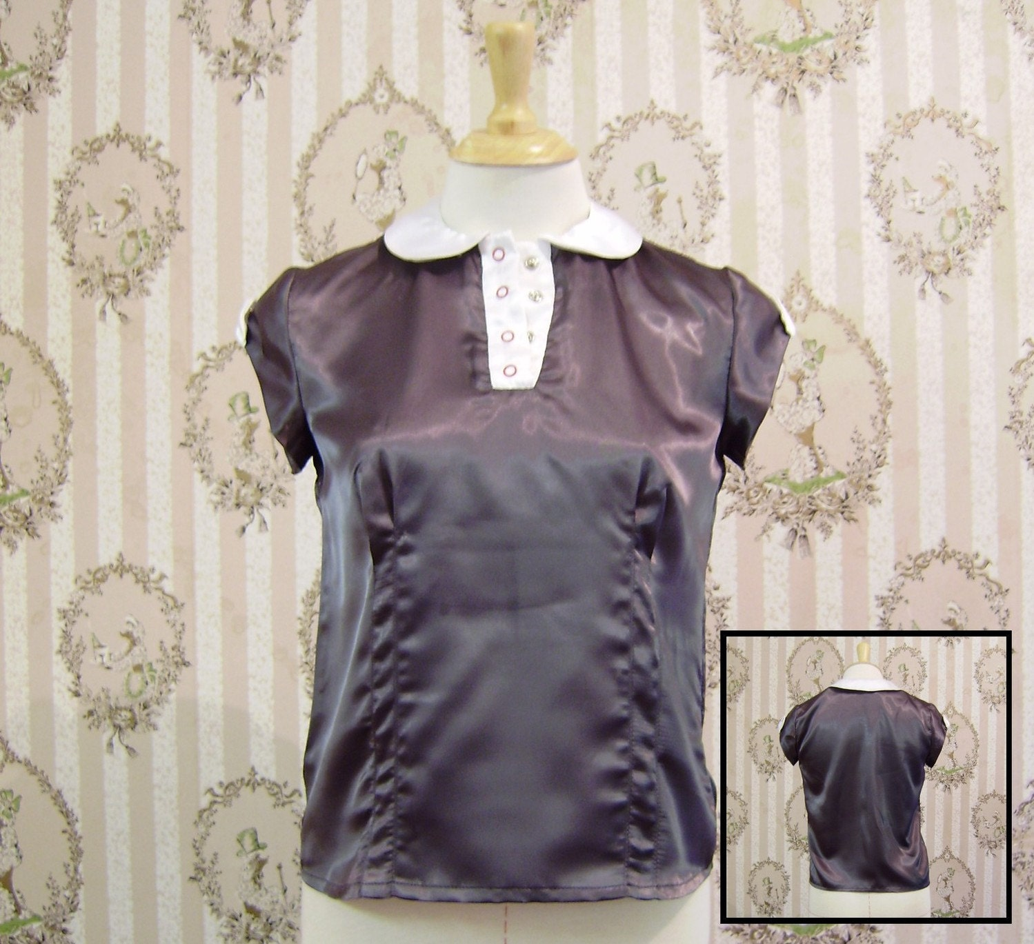Handmade grey satin blouse - small