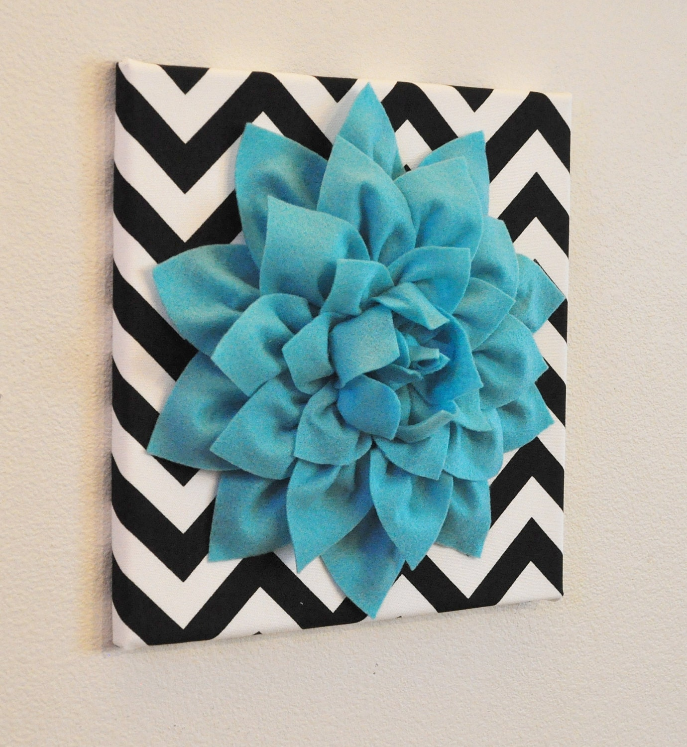 Aqua Wall Flower Turquoise Dahlia On Black And White By
