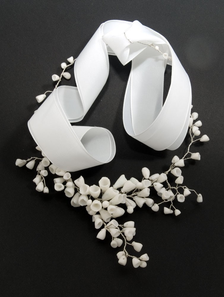 Necklace For Wedding Day , Bridal White Porcelain Necklace- Sterling Silver
