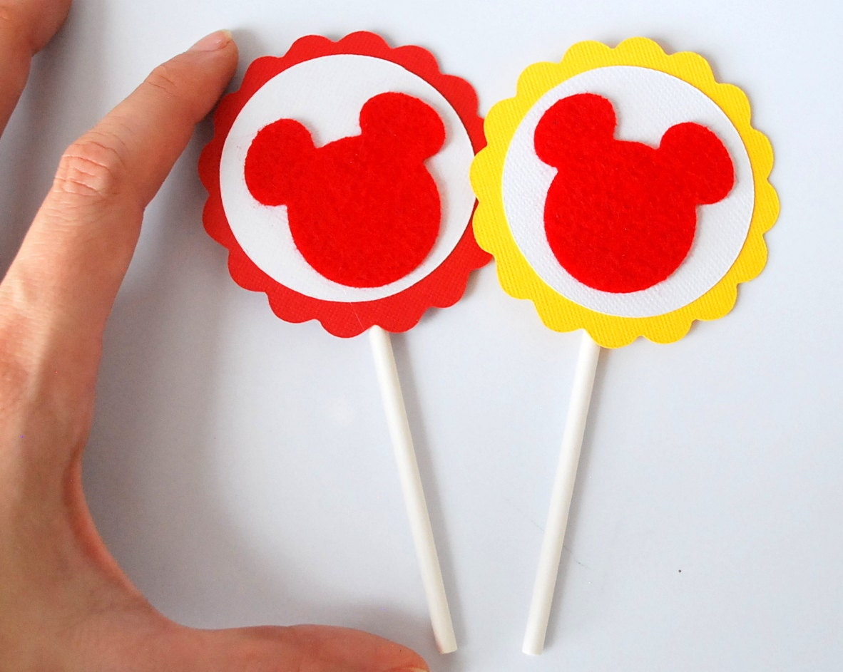 ON SALE Mickey Cupcake Toppers, set of 12 cupcake toppers A885