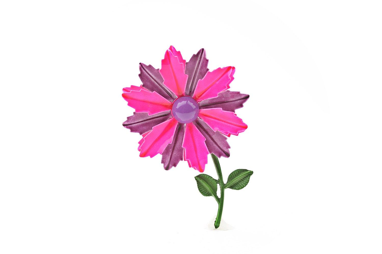 Neon Pink Enamel Flower Brooch - ClassiqueStyle
