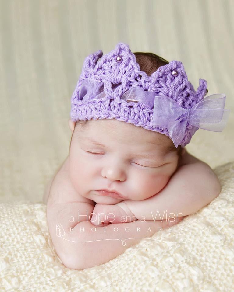 Crochet Newborn Crown : Crochet Crown, Newborn baby Crown, Princess Royalty Tiara Crown with ...