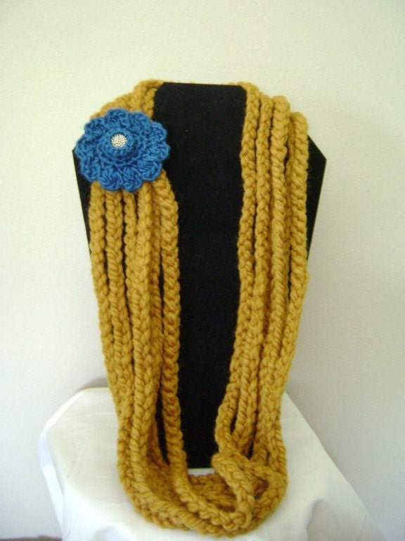 crochet mustard teal blue necklace reserved
