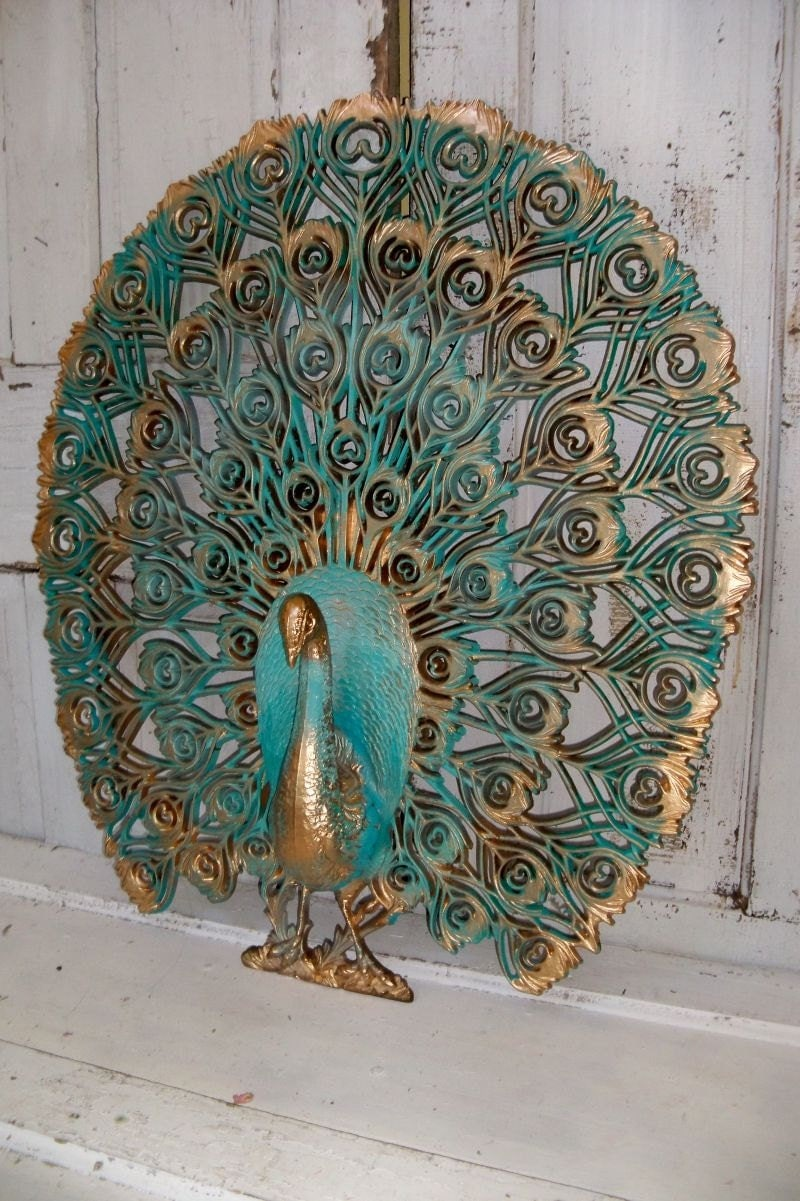 Large Peacock Vintage Crested Burwood Wall By Anitasperodesign