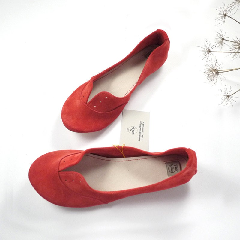 Geranium Red Soft Suede Handmade Oxfords Shoes - elehandmade