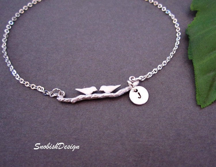 Personalized Jewelry  Love Birds Bracelet  Hand by SnobishDesign from etsy.com