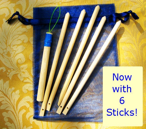 6 WEAVING STICKS with organza pouch and free gift
