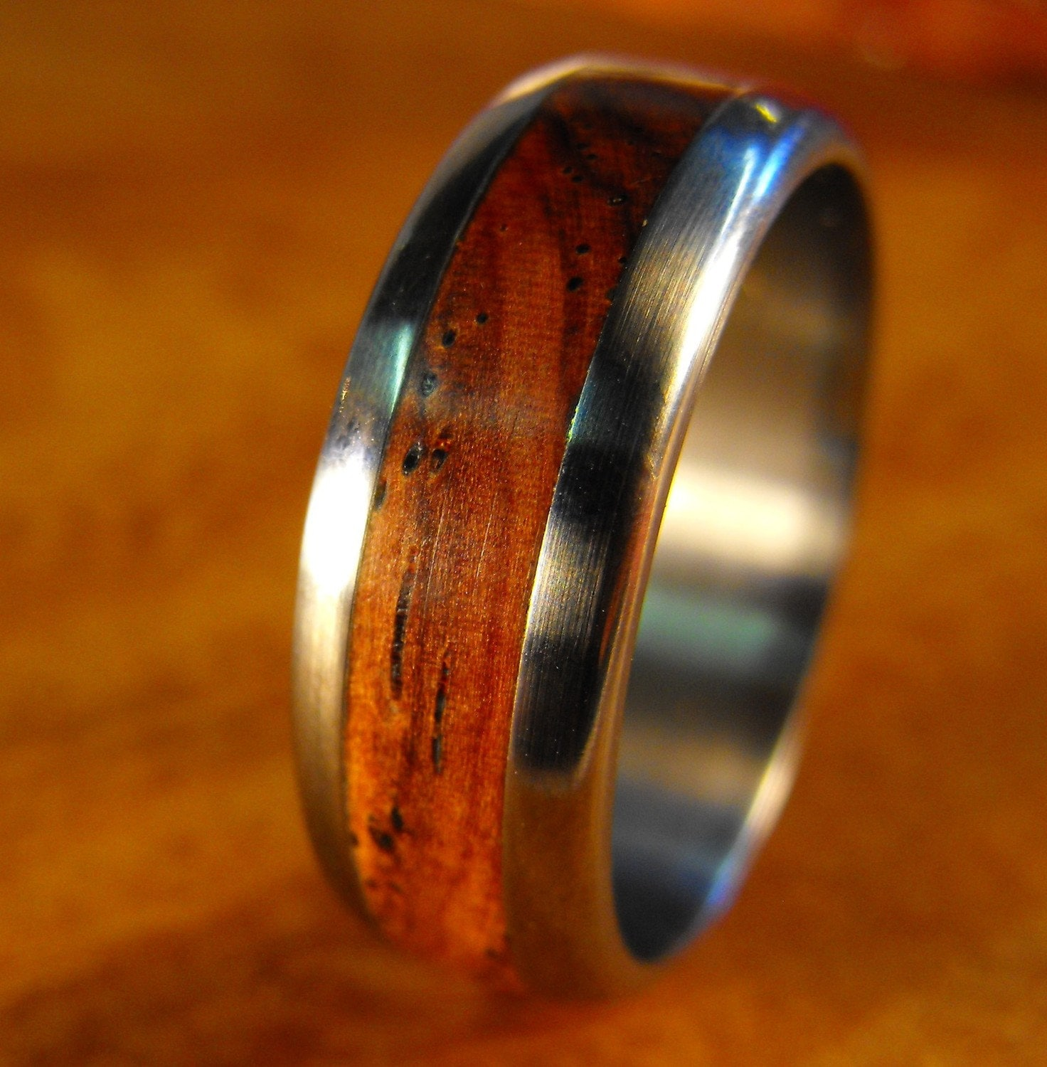 titanium wedding ring with cocobolo wood inlay by robandlean