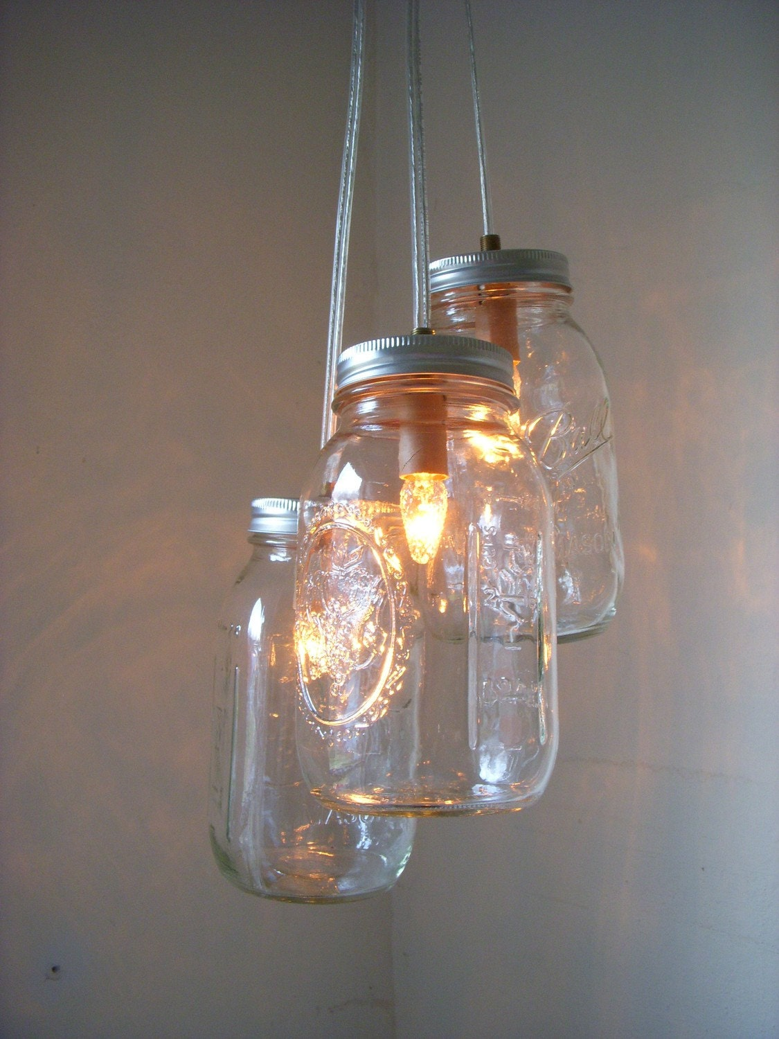 Summer Nights Shimmering Shooting Stars Sparkling Clear Quart Glass Fruit Harvest Ball Mason Jar Lights Chandelier - UpCycled ReCycled Hanging Pendant Lighting Fixture Light - Decrotive Wedding Accent - April Showers - May Flowers