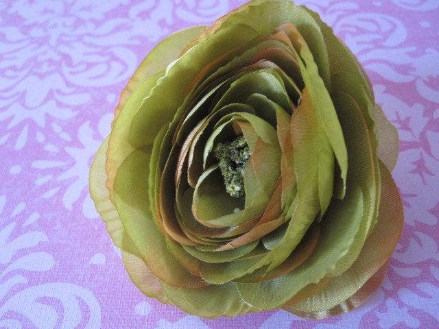 Оливковый зеленый, малиновый розовый и оранжевый Хурма - 3 нежные цветы Шелк - Дамских, Измененные Couture, волос Цветы