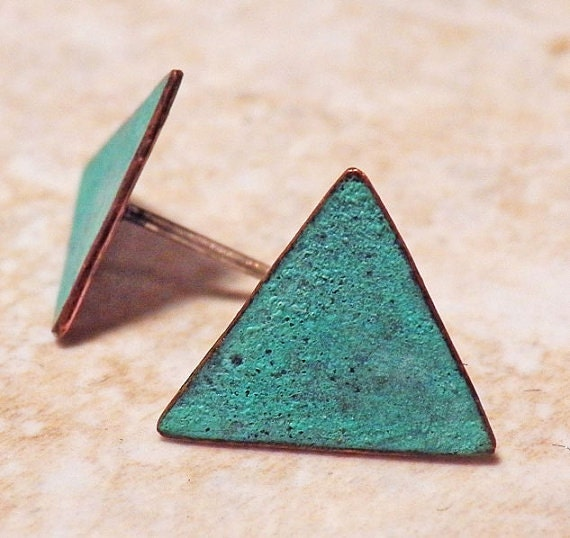 Verdigris Blue Triangle Stud Post earrings - Geometric - Copper and Sterling Silver - Patina - Handcrafted Earrings