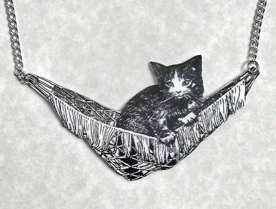KITTEN IN HAMMOCK Large Pendant free shipping worldwide  - Animal Collection