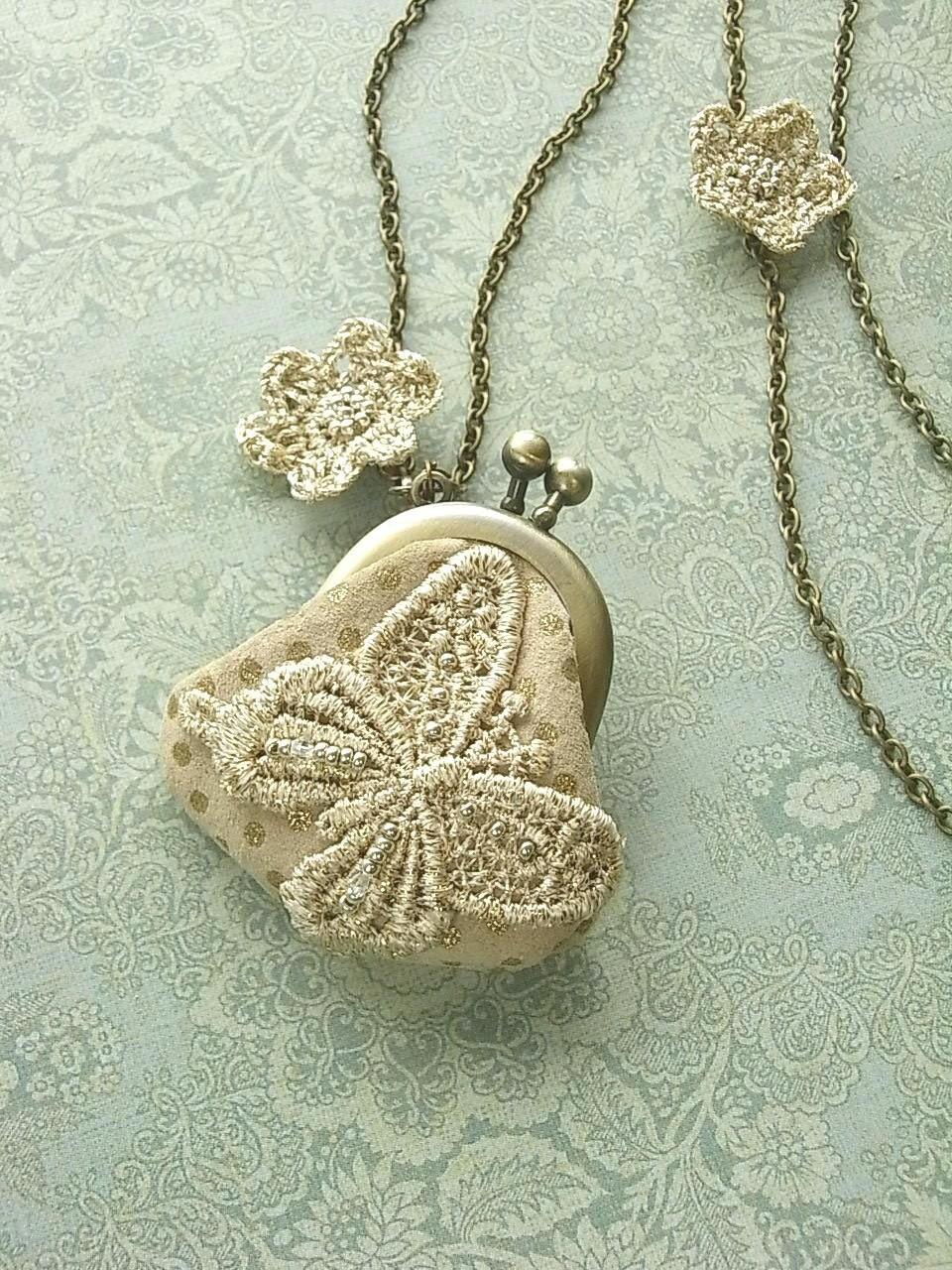 кожаный кошелек ожерелье - кружевные бабочка